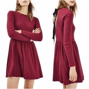 TopShop Maroon Long Sleeve Ribbed Dress